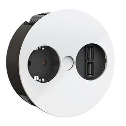 Keuken stopcontactTwist USB Wit Randaarding