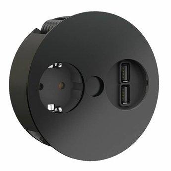 Keuken stopcontactTwist 2 x USB Mat zwart Randaarding