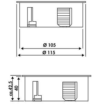 Keuken stopcontactTwist 2-voudig . Mat Zwart, Randaarding