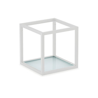 Wandsysteem One | Cubo, Glasbodem 600 mm| Mat zwart / RVS-look
