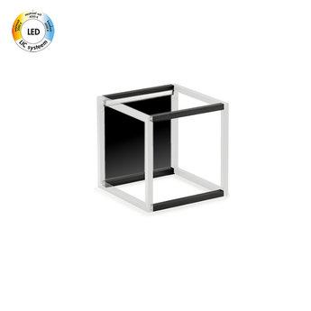 Wandsysteem One | Cubo, Achterwandset met LED verlichting  300 mm| Mat zwart / RVS-look
