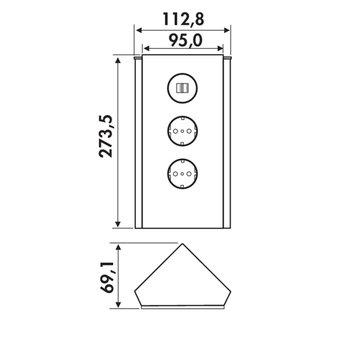 Hoekstopcontact keuken Zwart glas met 2 x USB aansluiting