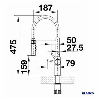 Blanco CATRIS-S Flexo Mat zwart 525793 - Eéngreepsmengkraan-Uittrekbare uitloop