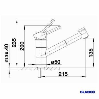 Blanco TIVO-S, Alumetallic - 517611 - Eéngreepsmengkraan-Uittrekbare uitloop