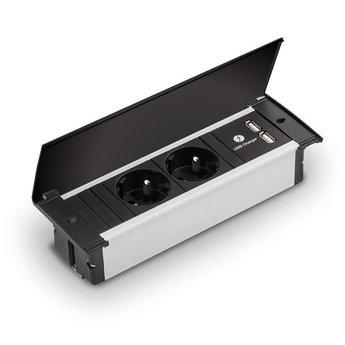 Bachmann | Kapsa Zwart met 2 stopcontacten en 2 x USB | Penaarding
