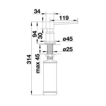 Zeepdispenser Blanco Lato 525809 Edelstaal finish Inox