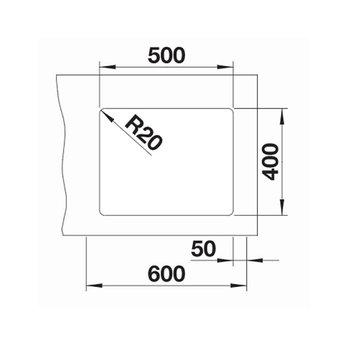 Zwarte Spoelbak Blanco ETAGON 500U-525887-Black line - Onderbouw