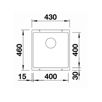 Zwarte Spoelbak Blanco SUBLINE 400U-525990-Black line - Onderbouw