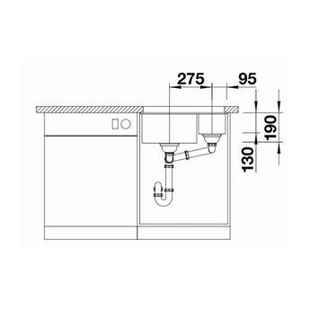 Zwarte Spoelbak Blanco SUBLINE 340/160U-525985-Black line - Onderbouw-Hoofdbak Links