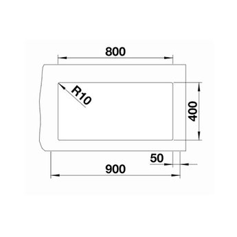 Zwarte Spoelbak Blanco SUBLINE 800U-526005-Black line - Onderbouw