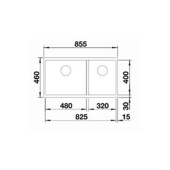 Zwarte Spoelbak Blanco SUBLINE 480/320U-525993-Black line - Onderbouw-Hoofdbak Links