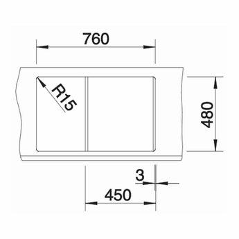 Zwarte Spoelbak Blanco METRA 45 S -525914-Automatische bediening-Black line