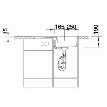 Zwarte Spoelbak Blanco METRA 45 SF -525917-Vlakbouw-Automatische bediening-Black line