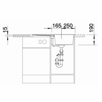 Zwarte Spoelbak Blanco METRA 5 SF -525921-Vlakbouw-Automatische bediening-Black line