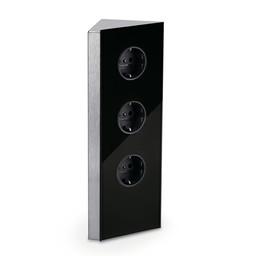 Hoekstopcontact keuken Zwart glas 3-voudig