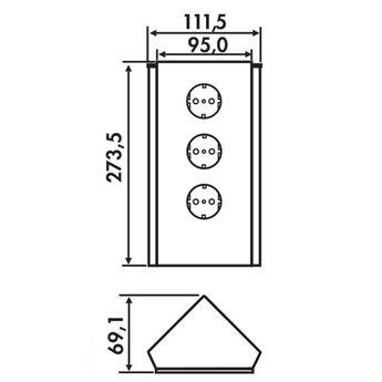 Hoekstopcontact keuken Wit glas 3-voudig