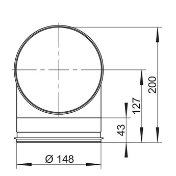 Afzuigkap bocht 90° Compair Steel flow