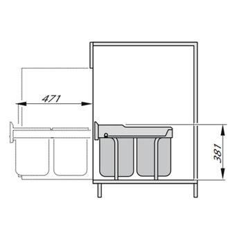 Hailo Tandem-RB-Voluittrek 40  Liter afvalemmer. 2 x 20 Liter.