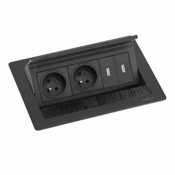 Evoline Flip Top Push USB   Mat zwart 2-voudig - 2 x USB