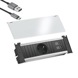 Bachmann Kapsa inbouw stopcontact met USB-A en USB-C, Belgische aarding, Wit