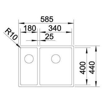 Blanco ANDANO 340/180, Onderbouw, grote bak rechts