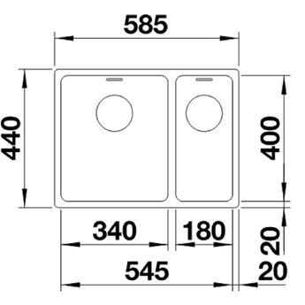 Blanco ANDANO 340/180, Onderbouw, grote bak links