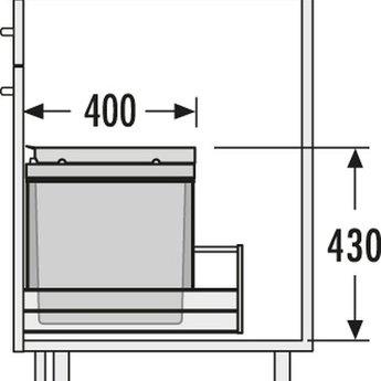 Hailo HAILO TRIPLE-XL-FRONT 60 LITER AFVALEMMER.