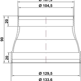 Naber RDZ flow 125/150 Reduceerstuk, wit