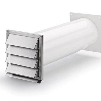 Naber Klima-E 150 muurdoorvoerunit, wit/RVS-Met terugslagklep.