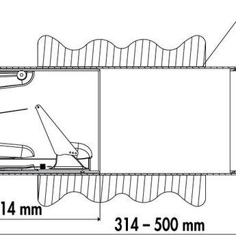 Naber Flow Star GTS 150 muurdoorvoer, Wit/Roestvrij staal