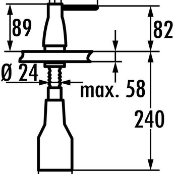 KWC Vaatwasmiddeldispenser Inox. Inhoud 300 ml, roestvrij