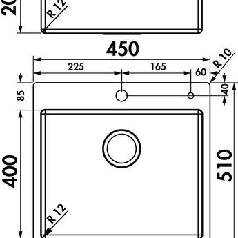 Naber Corno PR3. Inbouw- spoelunit. roestvrij staal.