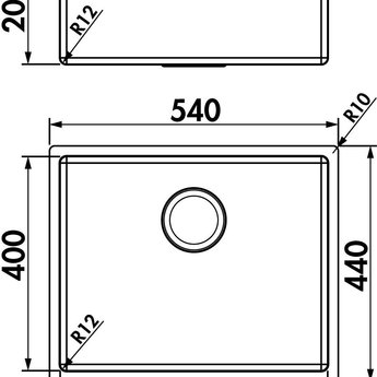Naber Corno PF4. Inbouw- spoelunit. roestvrij staal.