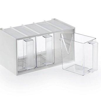 Naber De Luxe 3, Drie smalle voorraadbakjes in de witte stapelkast,