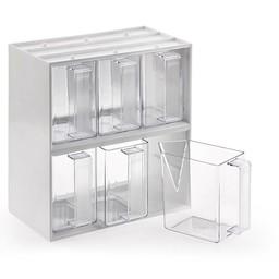 Naber De Luxe 6, Zes smalle voorraadbakjes in de witte stapelkast,