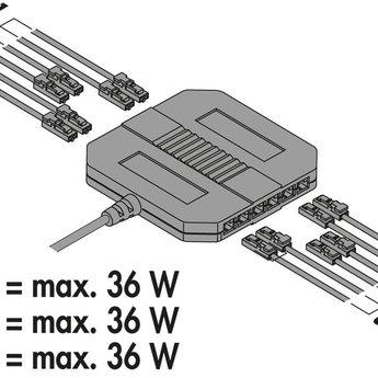 Naber LED Converter 60, wit, 60 watt, 12 V DC, Met 12- voudige verdeler, 2000 mm netsnoer,
