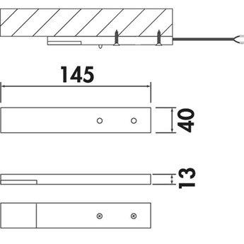 Naber Trave II Set-2 met LED Touch schakelaar en dimmer. Onderbouwlamp.