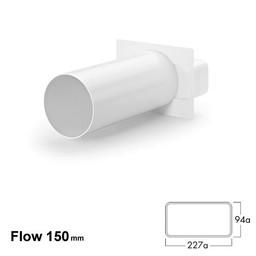 Naber Luchtafvoer Flow 148 mm Muuraansluiting wit