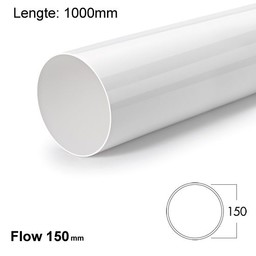 Naber Luchtafvoer R-1000 Systeem 150 Ronde buis wit-Lengte 100cm.