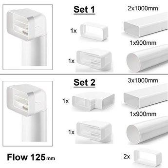 Naber Luchtafvoer Compair Flow 125 Set met vlakke buizen, wit