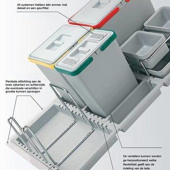 Elletipi Inbouw afvalemmer lade Metropolis PTC28 09050 2F 1x15L-2x10L-1x6L