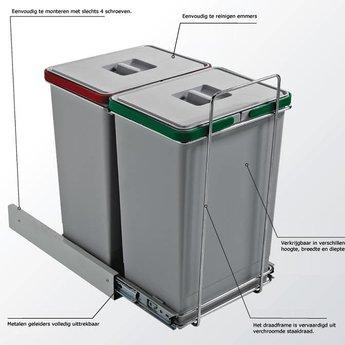 Elletipi Inbouw afvalemmer Ecofil PF01 34C1 inhoud 18liter, grijs