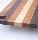 Cheeseboard made of the Brazilian hardwoods, tigerwood, greenheart, curupay a;ongside Dutch maple. A suitable size of 23x50 cm. - Copy - Copy