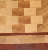 end grain cuttingboard made of hornbeam and tigerwood