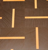 End grain cutting board of dark wenge wood with alternating stripes of hard maple