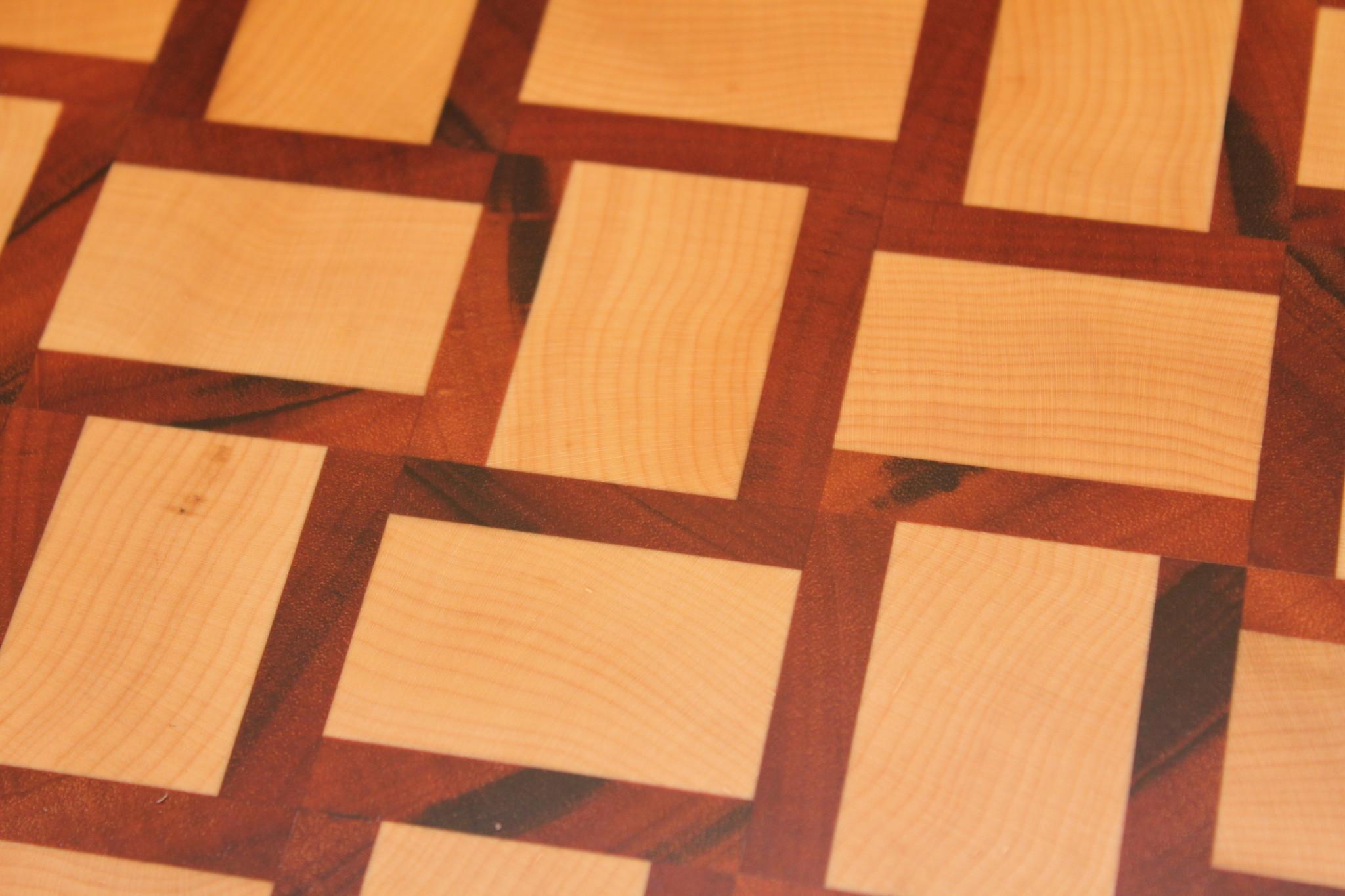 kopshouten snijplank van Amerikaans esdoorn en tijgerhout