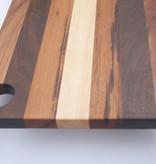 Luxe kaasplank van de exclusieve houtsoorten esdoorn, tijgerhout, ipé en curupay