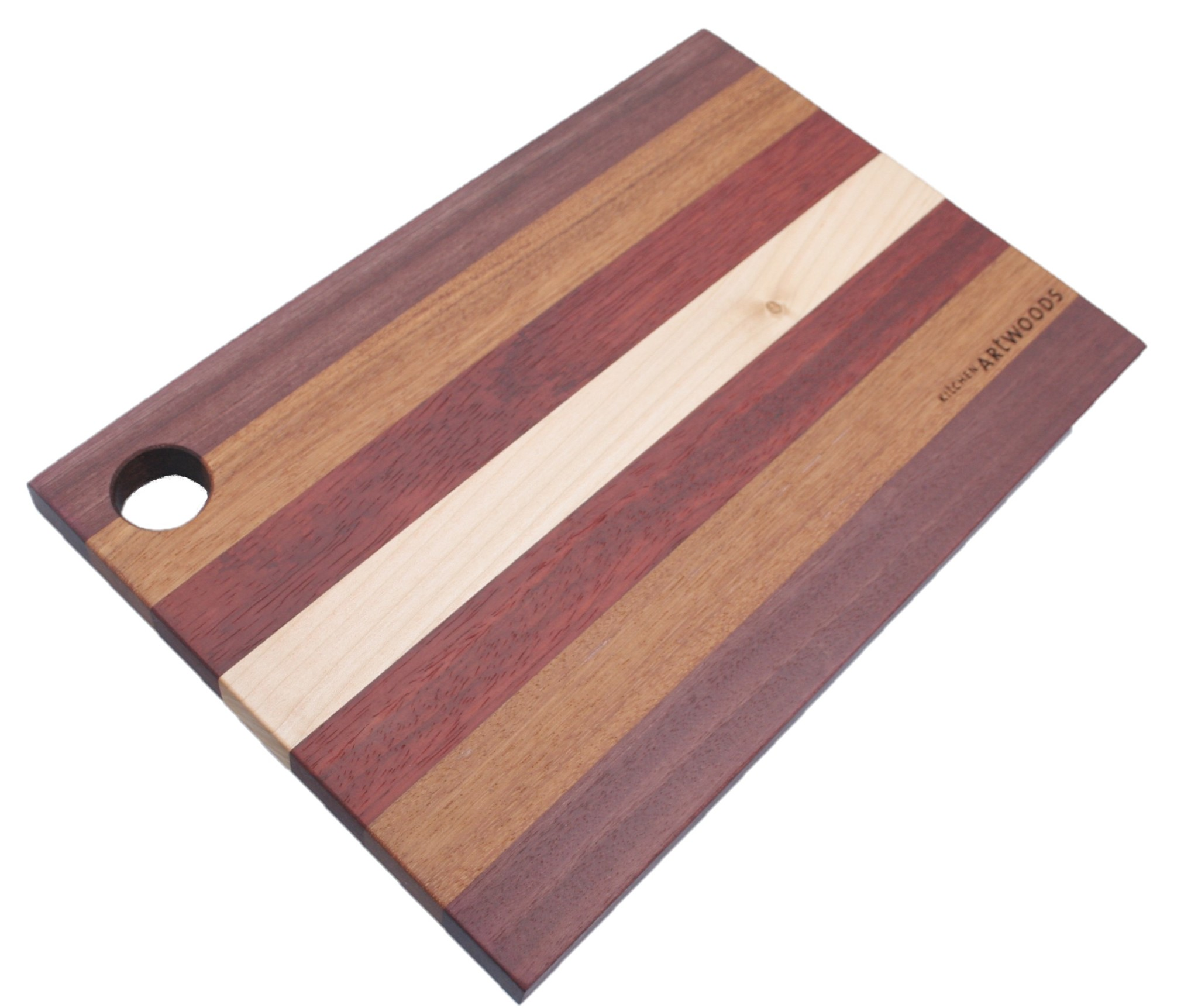 Colourful cheese Board, made of hard maple, paduk, afzelia and purpleheart, available in three sizes