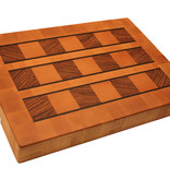 Kitchen Artwoods end grain cuttingboard made of steamed beech, blocks of zebrawood and thin wenge lines