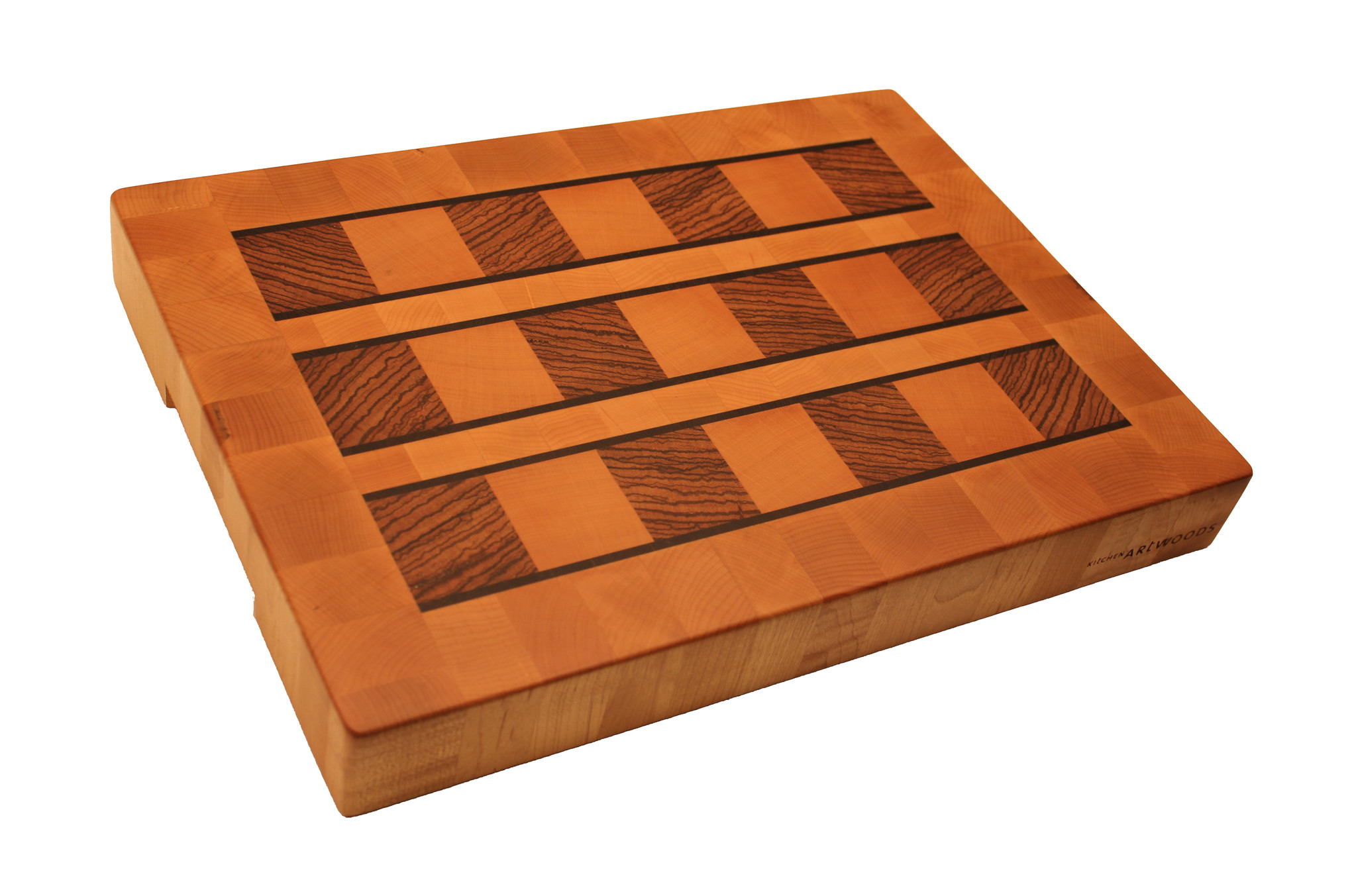 end grain cuttingboard made of steamed beech, blocks of zebrawood and thin wenge lines